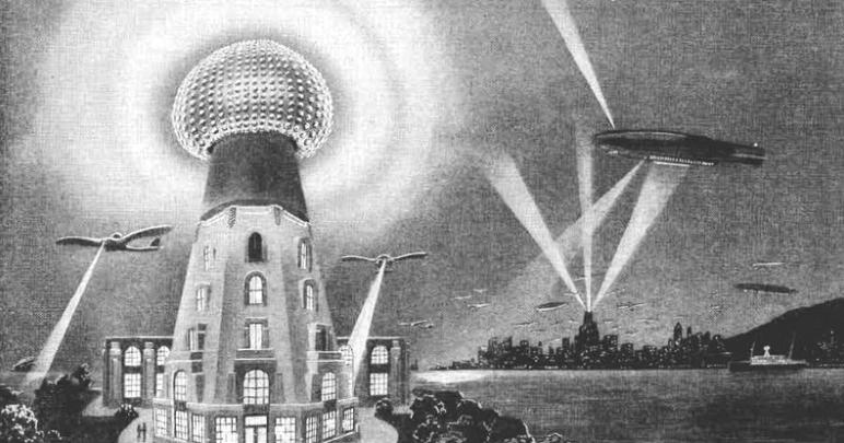 رسم تخيلي لرؤية برج تسلا اللاسلكي وحوله طائرات.